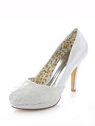 Women's Shoes Stretch Satin Stiletto Heel Heels / Peep Toe / Round Toe Sandals Wedding / Party & Evening / Dress Ivory