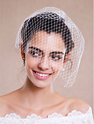 Wedding Veil One-tier Blusher Veils Veils for Short Hair Headpieces with Veil Raw Edge Tulle White