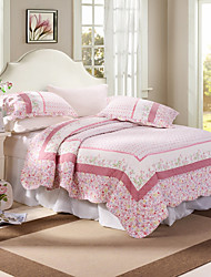 100% Cotton Pink Floral 3 pieces Quilted Bedspread set,King Size