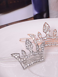 Women's European Style Fashion Elegant Shiny Rhinestone Crown Hairpin