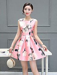 Women's Vintage / Street chic Sweet Elegance Floral A Line / Sheath Bubble Dress,Round Neck Above Knee