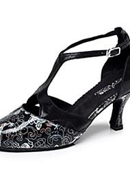 Non Customizable Women's Dance Shoes Leatherette Leatherette Modern Heels Stiletto Heel Indoor Black / Silver / Gold