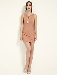 JOANNE KITTEN Women's Sexy / Cute Solid Bodycon Dress, V Neck Above Knee Polyester / Spandex