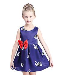 Girl's Cotton Summer High-end Bowknot Print Sleeveless Dress