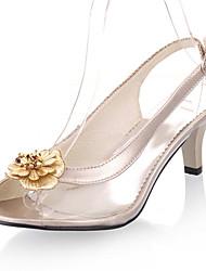 FemininoPeep Toe / Chanel-Salto Cone-Preto / Prateado / Dourado-Courino-Casamento / Social / Festas & Noite