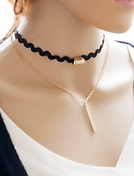 Women's Choker Necklaces Tattoo Choker Alloy Tattoo Style Simple Style Double-layer Jewelry Daily Casual 1pc