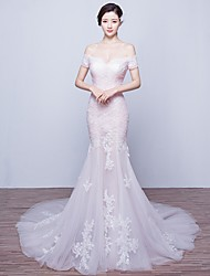 Trumpet/Mermaid Wedding Dress-Court Train Off-the-shoulder Tulle