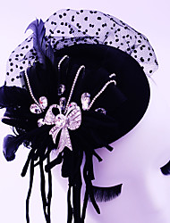 Women's Feather / Rhinestone / Tulle Headpiece-Wedding / Special Occasion / Casual / Outdoor Fascinators 1 Piece