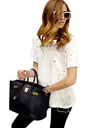 Damen Druck Einfach Lässig/Alltäglich T-shirt,V-Ausschnitt Sommer Kurzarm Weiß / Schwarz / Grau Baumwolle Undurchsichtig