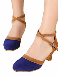 Women's Dance Shoes Latin Satin Chunky Heel Black / Blue / Red