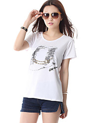High Quality Women's Print Pink / Red / White / Gray T-shirt,Round Neck Short Sleeve