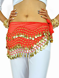 Belly Dance Belt Women's Training Chiffon Beading Coins 1 Piece Hip Scarf
