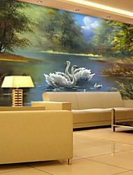 3D Shinny Leather Effect Large Mural Wallpaper White Swan Art Wall Decor for Living Room