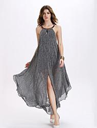 Damen Kleid-Lose Sexy Druck Asymmetrisch Polyester Halter