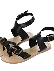 Women's Shoes Leatherette Flat Heel Comfort Sandals Outdoor / Casual Black
