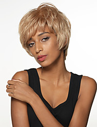 Chic Fashionable Short Straight Hand Tied Top Remy Human Hair Wigs