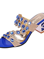 Women's Shoes PU Chunky Heel Slippers Sandals / Slippers Outdoor / Dress / Casual Black / Gold / Royal Blue