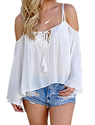 Women's Solid White / Gray Blouse,Strap ¾ Sleeve