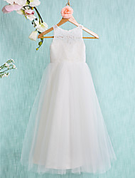 A-Line Ankle Length Flower Girl Dress - Lace Tulle Sleeveless Jewel Neck with Lace Pleats by LAN TING BRIDE®
