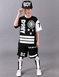 Boy's Polyester Summer Number Letter And Star Pattern Hip-hop Uniforms