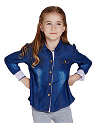 Girl's Blue Shirt Cotton Spring / Fall