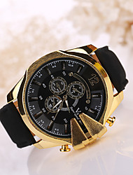 Men's Large Case Leather Band Analog Quartz Wrist Watch Cool Watch Unique Watch