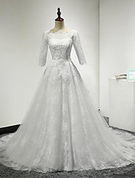 A-line Wedding Dress Court Train Scoop Lace / Tulle with Appliques / Lace / Sash / Ribbon