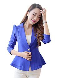 Women's Solid Peplum Slim Hin Thin OL Style Blazer,Simple / Street chic Shirt Collar Long Sleeve