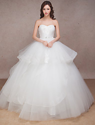 Princess Wedding Dress Floor-length Sweetheart Tulle with Beading