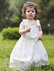 A-line Ankle-length Flower Girl Dress - Organza / Stretch Satin Sleeveless Scoop with