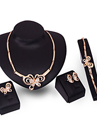 XIXI Crystal Butterfly Jewelry Set Gold Plated Jewelry Set With Crystal Necklace For Bridal Bridal Wedding Party