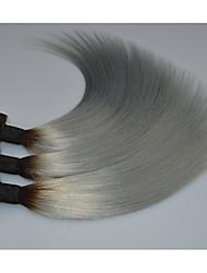 brasileños ombre raíz gris oscuro extensiones de cabello de plata brasileños haces grises rectas tejen 3pcs / lot