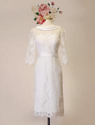Sheath/Column Wedding Dress-Ivory Knee-length Scoop Lace / Satin / Tulle