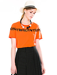 Goelia® Damen Rundhalsausschnitt Kurze Ärmel T-Shirt Orange-163F0B060