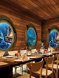 effet cuir shinny grand fond d'écran mural rétro océan monde 3d art décoration murale