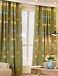 Two Panels Luxury Embroidery  Floral Blackout  Curtain