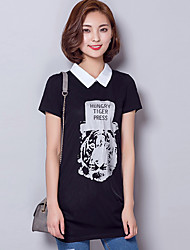 Women's Print White / Black Blouse,Shirt Collar Short Sleeve