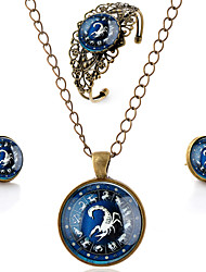 Lureme® Time Gem The Zodiac Series Vintage Scorpio Pendant Necklace Stud Earrings Hollow Flower Bangle Jewelry Sets