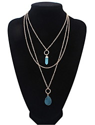 New Fashion Jewelry Link Chain Blue Pendant Necklace Brand Design For Women Girl Nice Gifts