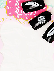 Feather Metal White  Lovely 3D Nail Sticker