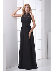Formal Evening Dress Sheath / Column Halter Floor-length Chiffon / Lace with Lace / Sash / Ribbon