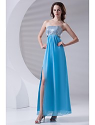 Bainha / coluna sem alças comprimento do tornozelo chiffon sequined prom vestido de noite formal com lantejoulas