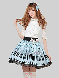 Skirt Sweet Lolita Princess Cosplay Lolita Dress Blue Print Lolita Skirt For Women Polyester Pretty Lolita Key and Cat Princess Kawaii Skirt Lovely