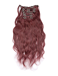 "15""-22""Brazilian Virgin Body Wave Clips In Human Hair Extensions 7pcs/set 70g Full Head Burg Color"