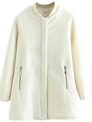Women's Print White Pea Coats,Street chic Long Sleeve Polyester
