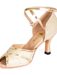 Women's/Kids' Dance Shoes Latin Leatherette Flared Heel Gold Customizable