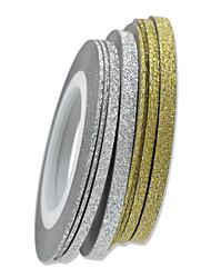 1pcs 20m 3 milímetros arte do prego de ouro / prata do brilho da listra tape Nail Art Decoração nc275