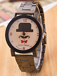 Men's Beard Hat Set Auger Red Bowknot Black Black Tungsten Steel Strap Watch