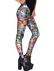 Для женщин Ткань средней плотности Для женщин С принтами Legging,Полиэстер
