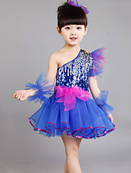 Girl's Polyester Summer Paillette One-shoulder Lace Dance Dress